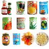 varied canned food and Candied fruit