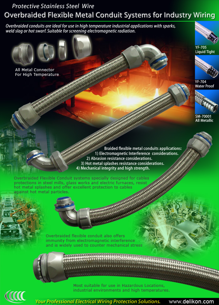 [CN] automotive industry automation Delikon Heavy Series electric over braided Flexible Conduit,Heavy Series sheath flexible conduit fittings connector For mach
