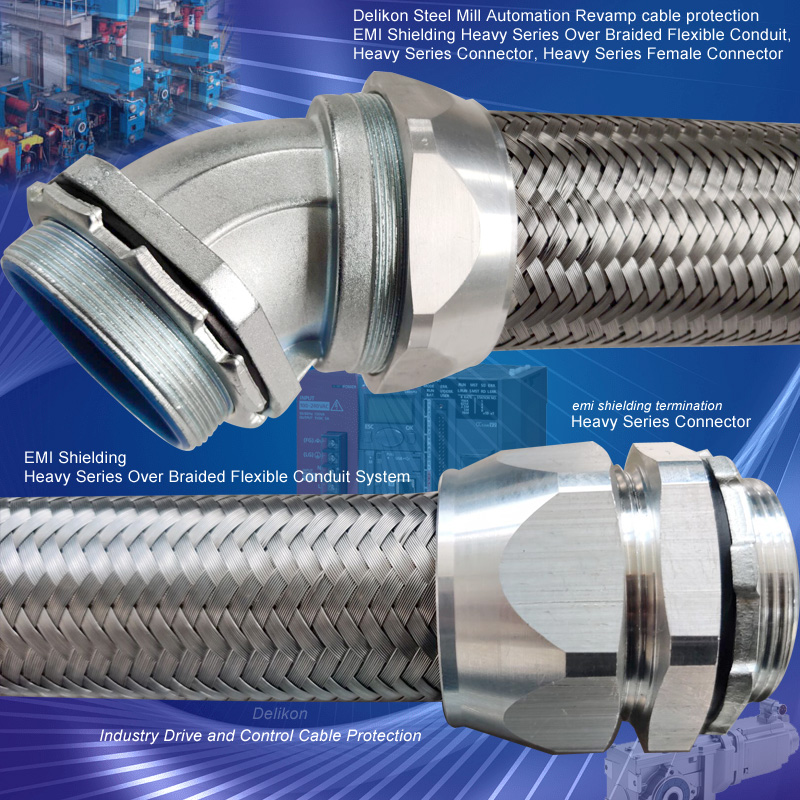 [CN] petro industry wiring emi shielding heavy series OVER braided metal liquid tight conduit flexible conduit fittings for machinery wiring,YF-705 BRAIDED LIQU